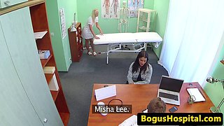 Busty les patient fingering nurse during exam