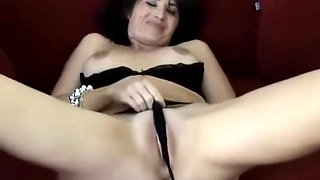 Naughty Big Tit Brunette Housewife Plays With Her Bikini Brief