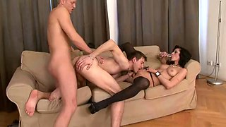 bisexual orgy with two guys and a sexy brunette in stockings