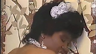 Insatiable black housemaid bent over and pounded from behind