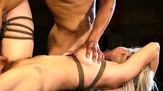 Extreme big ass and rough brutal anal bondage gangbang Big-b