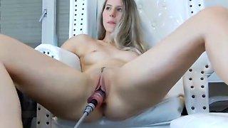 Orgasmic Babe Fucked Machine Dildo Squirts