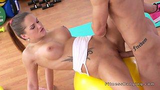 Super hot busty teen bangs her coach