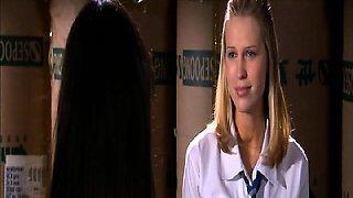 Jordana Brewster passionately lesbian kissing Sara Foster