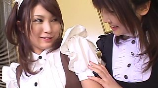 Japanese maids drop their panties to lick each other in the kitchen