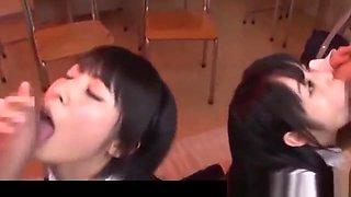 Two Jav Schoolgirls Do Deep Throat BJ And Cum Swallowing Plus Bukkake