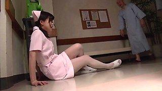 Old guy fucks a cute Japanese nurse in the hospital