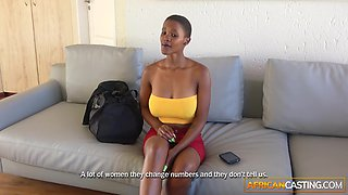 Hot Ebony Babe Gives Sloppy In Casting