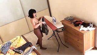 Topless brunette voyeur babe Miki posing on spy camera in