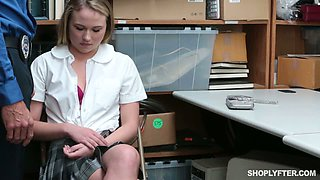 Blond haired teen chick Alyssa Cole performs steamy DT to horny step daddy in the storage room for the first time