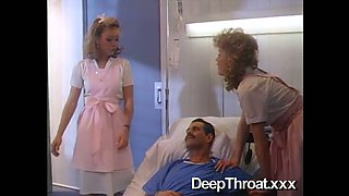 Dirty-minded classic nurses provides their patient with a handjob