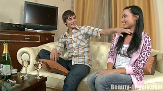 Slim teen Sandra lets her lover fondle her tits and pussy