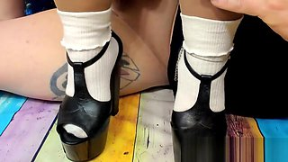 Cumshot on Retro T Strap Platforms with White Ribbed Ankle Socks