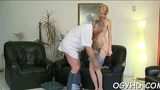 Old guy inserts cock in young hole