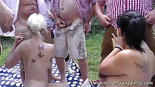 Naughty wild german outdoor groupsex orgy