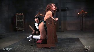 Elegant and hot redhead babe spanked and punished by nun