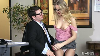 Hot blonde secretary Staci Carr gives head to her boss