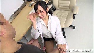 Breathtaking Asian nurse in miniskirt riding her patient dick hardcore