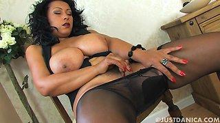 British slut Danica Collins teases in nylon pantyhose. HD video