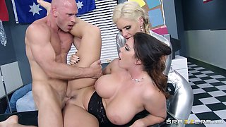 Alison Tyler and Phoenix Marie finger each other's vags in FFM video