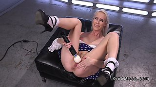 Blonde fucks different machines and squirts