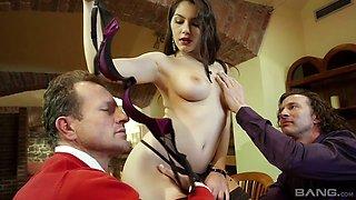 Wondrous big breasted Italian nympho Valentina Nappi takes double penetration