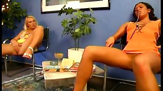 Two sexy slave girls lick each other