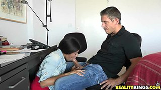 Latina Job Attendant Would Do Anything For Her Boss