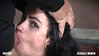 bondaged brunette sub kneels down to get facefucked