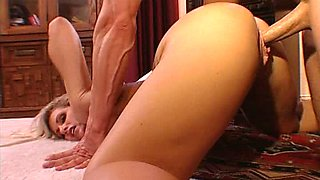 Blonde horny MILF rides on the huge cock. Hot video