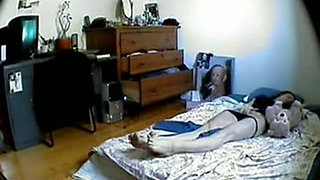 Hidden cam video of my GF's sister masturbating on mattress