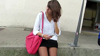Candid black pantyhose woman waiting at bus station