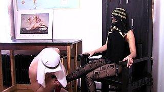 Asian Mistress shows Arab Slave how to worship his goddess