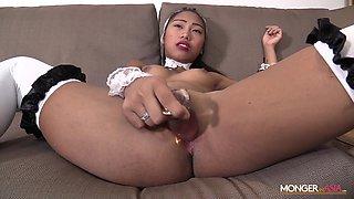Filipina maid in sexy uniform is masturbating pussy for cash