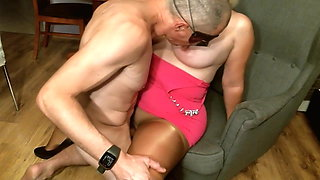 Cock slides easily into wet pussy of horny wife in pantyhose