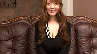 Stunning Oriental girl with big natural tits gets gangbanged