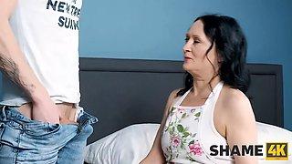 Shame4k. son finds him stepmom girlfriends big dildo and threatens her