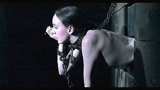 sexy bound slave has her mouth used as a fuck hole