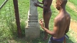 Slippery ebony pussy gets teased and fingered by kinky black dude