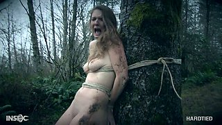 Kinky dude fucks pretty hot tied up girlfriend Ashley Lane in the forest