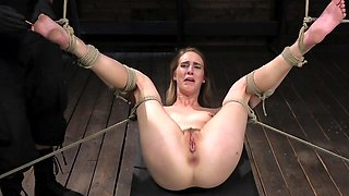 Young fair-haired slave girl gets punished by her master