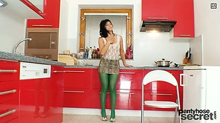 Amazing bright wanker Tera Joy enjoys stimulating her wet pussy in the kitchen