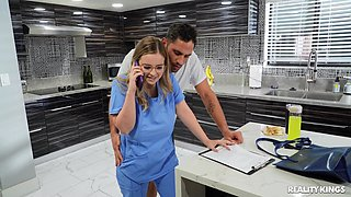 Chubby nurse Codi Vore gives a titjob and gets fucked hard