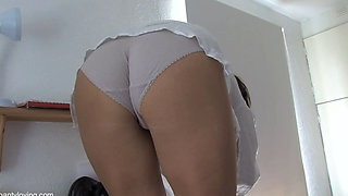 Sexy amateur girl showing off her panties