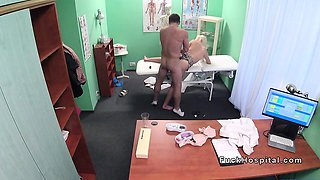 Doctor bangs busty blonde in office
