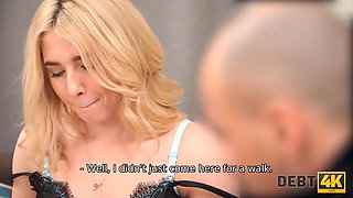 DEBT4k. Fascinating blonde with curly hair fucked by debt collector