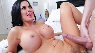 Stunning hot AF busty brunette Jasmine Jae flashes boobies and gives nice head
