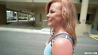 Fiery petite blonde gets fucked in public and she loves it
