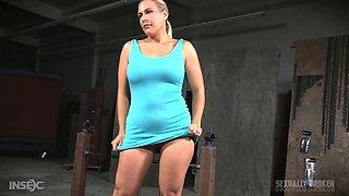 Slutty blonde stunner gets bound and sucks on two big cocks