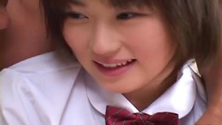 Japanese schoolgirl girl gets her tight shaved Asian pussy fucked hard